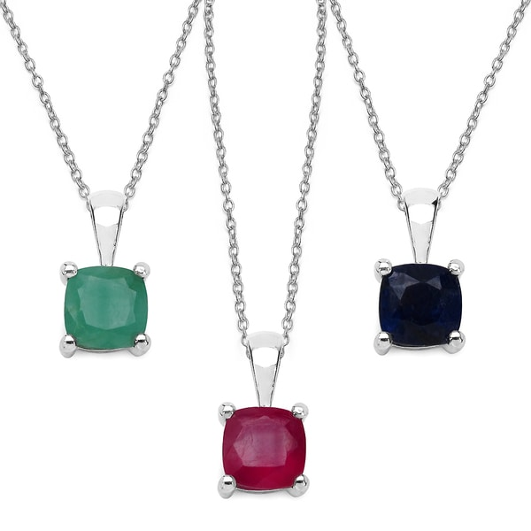 Malaika Sterling Silver 3.08 Carat Emerald Ruby and Sapphire Pendant Set. Opens flyout.