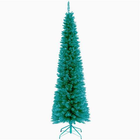 6-foot Turqoise Tinsel Christmas Tree