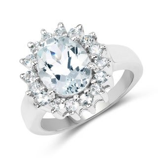 Olivia Leone .925 Sterling Silver 2.73 Carat Genuine Aquamarine Ring