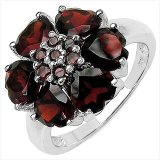 Malaika .925 Sterling Silver 5.56 Carat Genuine Garnet Ring