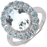 Malaika .925 Sterling Silver 5.90 Carat Genuine Crystal Quartz & Swiss Blue Topaz Ring