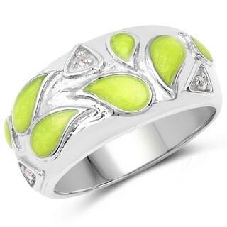 Malaika .925 Sterling Silver 0.07 Carat Genuine White Topaz & Enamel Ring