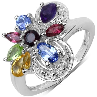 Olivia Leone .925 Sterling Silver 1.25 Carat Genuine Multi Stones Ring
