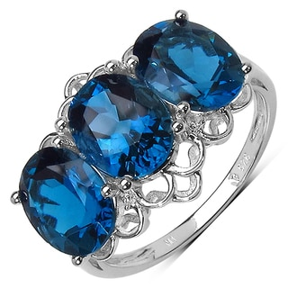 Olivia Leone .925 Sterling Silver 5.17 Carat Genuine London Blue Topaz & White Topaz Ring