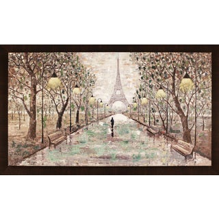 Walk To Eiffel Tower 35.5X59.5'' Framed Oil Wall Art