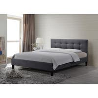 Altozzo Hermosa King-size Tufted Grey Fabric Upholstered Platform Contemporary Bed
