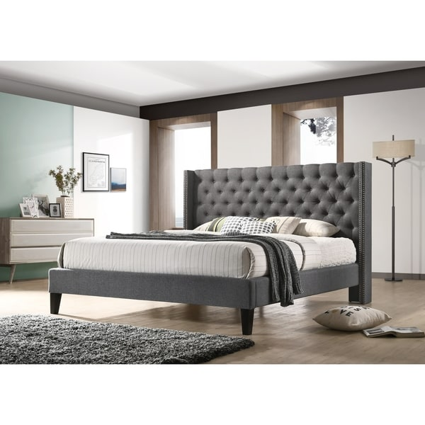 Altozzo Pacifica Queen-size Tufted Beige Fabric Upholstered Platform Contemporary Bed