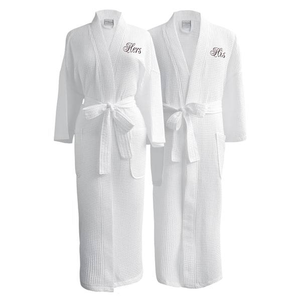 Conrad Egyptian Cotton His   Hers Waffle Spa Robe Set (Gift Packaging) ... 26e93154c