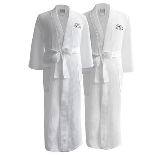 Conrad Egyptian Cotton His and His Waffle Spa Robe Set (Gift Packaging)