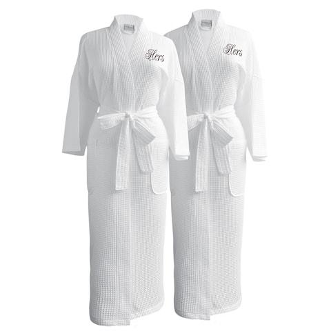 Conrad Egyptian Cotton Hers & Hers Waffle Spa Robe Set