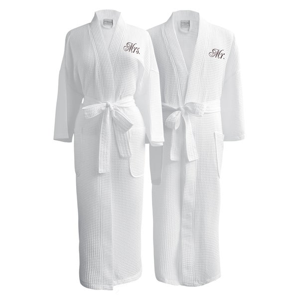 Shop Conrad Egyptian Cotton Mr. and Mrs. Waffle Spa Robe Set - On ...