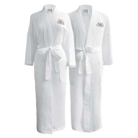 Conrad Egyptian Cotton Mr. and Mrs. Waffle Spa Robe Set