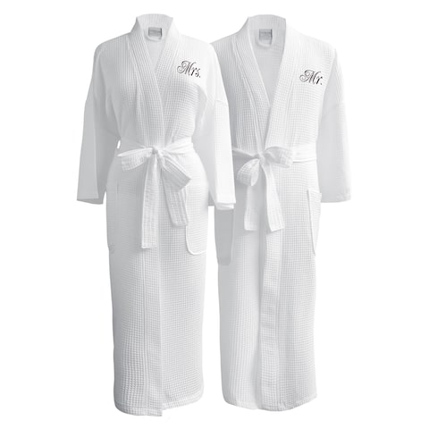 Conrad Egyptian Cotton Mr. and Mrs. Waffle Spa Robe Set