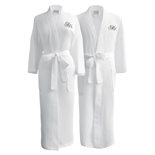 Conrad Egyptian Cotton Mr. & Mrs. Waffle Spa Robe Set (Gift Packaging)