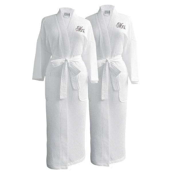 Conrad Egyptian Cotton Mrs. & Mrs. Waffle Spa Robe Set