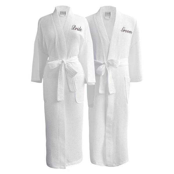Conrad Egyptian Cotton Bride & Groom Waffle Spa Robe Set (Gift Packaging)