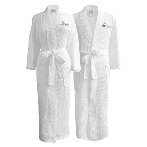 Conrad Egyptian Cotton Bride & Groom Waffle Spa Robe Set (Gift Packaging)