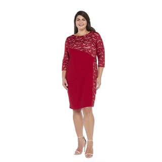 R&M Richards Women's Plus Size Side Panel Lace Dress