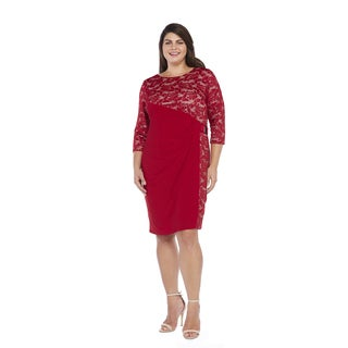 R&M Richards Women's Plus Size Side Panel Lace Dress Size 22W
