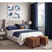 Skyline Furniture Cheetah Earth Cotton/Pine Square Nailhead Ottoman