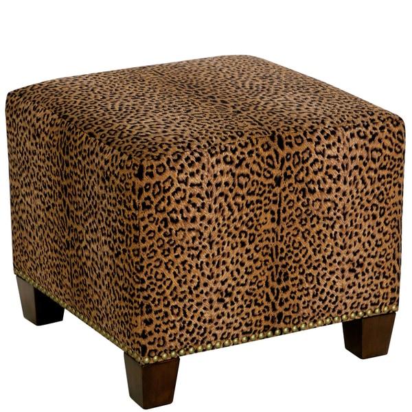 Skyline Furniture Cheetah Earth Cotton/Pine Square Nailhead Ottoman by Skyline Furniture