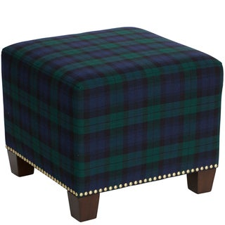 Skyline Furniture Square Nail Button Ottoman in Blackwatch