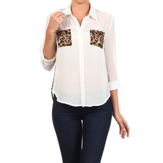 MOA Collection Women's Button Down Top with Leopard Print Inserts