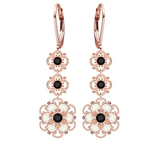 Lucia Costin Silver, Black, White Crystal Earrings