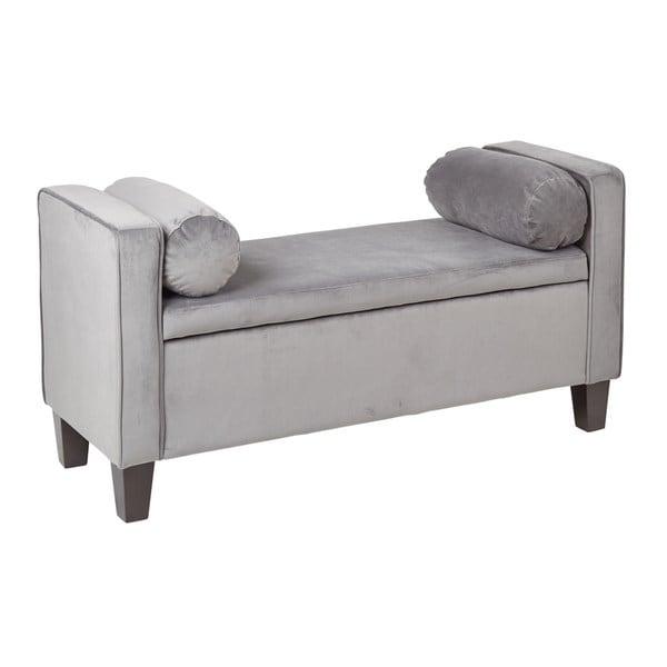 Bassett Cordoba Storage Bench With Pillows In Grey Velvet Fabric Free Shipping Today