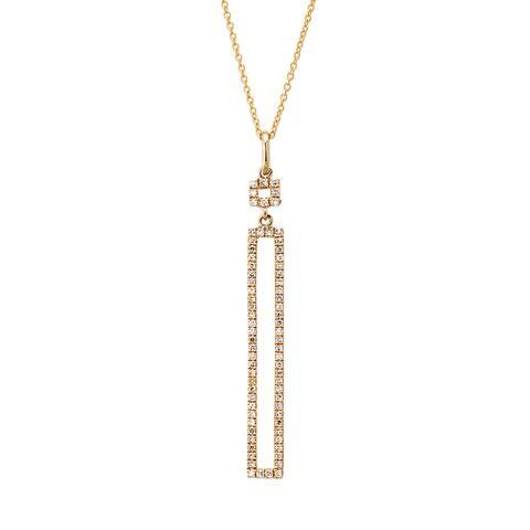 Kabella 14k Gold 1/5ct TDW Diamond Open Rectangular Necklace
