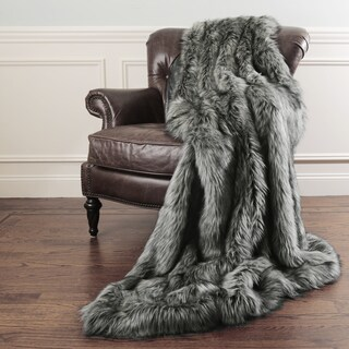 Aurora Home Silver Fox Faux Fur Throw Blanket by Wild Mannered