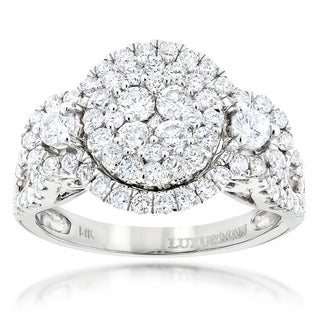 Luxurman 14k White or Yellow Gold 2ct TDW Diamond Cluster Ring