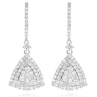 Luxurman 14k Gold 1 3/4ct TDW Trillion-shape Diamond Cluster Earrings (G-H, VS1-VS2)