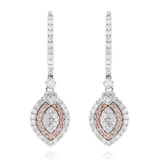 Luxurman 14k Gold 1 1/6ct TDW White and Pink Diamond Fashion Drop Earrings|https://ak1.ostkcdn.com/images/products/10627059/P17696543.jpg?impolicy=medium
