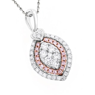 Luxurman 14k Gold 7/8ct TDW White and Pink Marquise and Heart Diamond Pendant