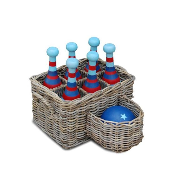 East At Main's Cottonport Vintage Wooden Bowling set - Red