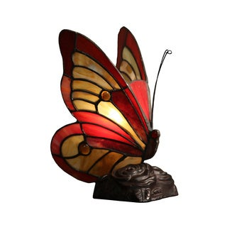 Everly 1-light Tiffany-style Red Butterfly 10-inch Accent Lamp