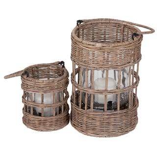 Castor Brown Rattan Lantern Set