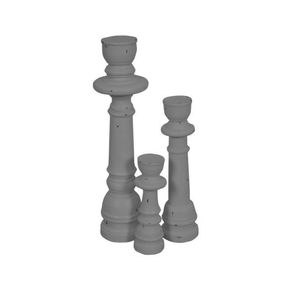 East At Main's Fenton Grey Wooden Candle Holder Set