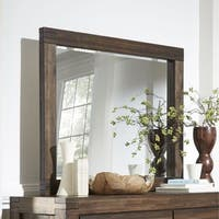 Wire Brushed Solid Wood Mirror in Brick Brown