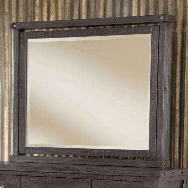 Industrial Solid Wood Mirror in Cafe - Black/Brown - A/N