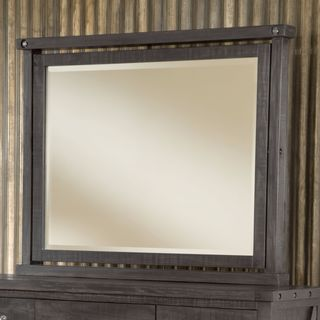 Industrial Solid Wood Mirror in Cafe