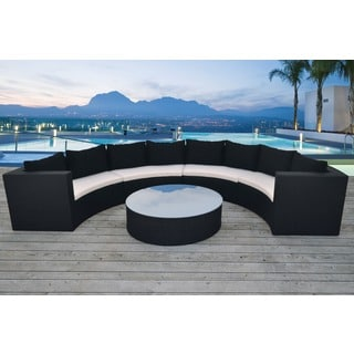 Solis Avalon Sectional Outdoor Deep Seated Black 5-piece Wicker Rattan Patio Set