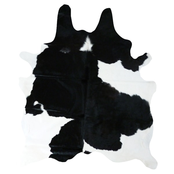 Black/White Cowhide Leather Handmade Traditional Area Rug (6' X 7') by Generic