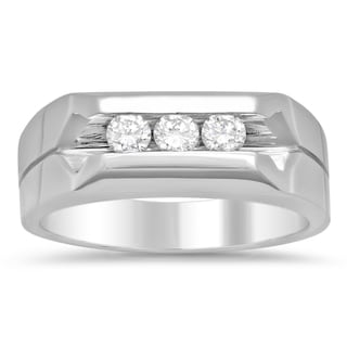 14k White Gold Men's 1/2ct TDW Diamond Ring (F-G, SI1-SI2)