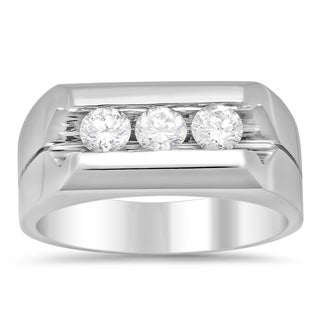 14k White Gold Men's 1ct TDW Diamond Ring (F-G, SI1-SI2)