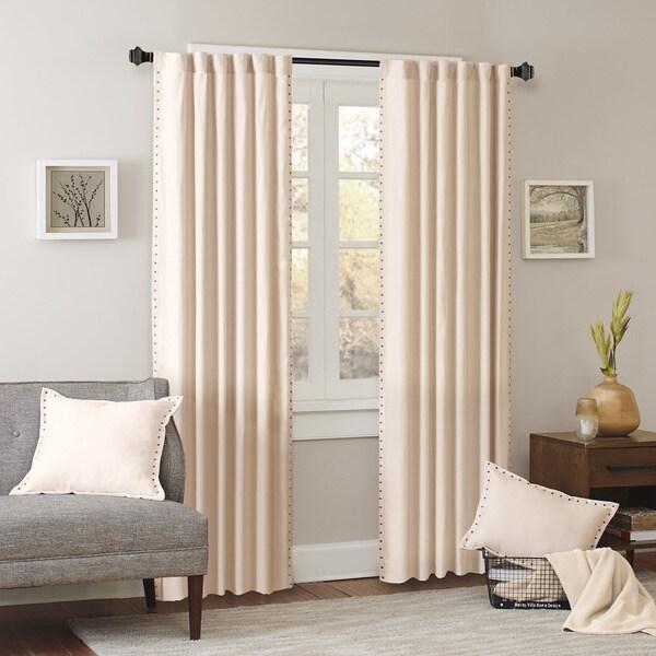 Madison Park Reiss Stud Trim Microsuede Curtain Panel