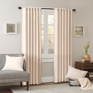 Madison Park Reiss Stud Trim Microsuede Curtain Panel