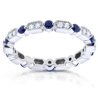 Annello by Kobelli 14k White Gold 2/5ct TCW Blue Sapphire and 1/5ct TDW Diamond Milgrain Eternity Ri
