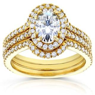 Annello by Kobelli 14k Yellow Gold Oval 1 3/5ct TDW Diamond Halo 3-Piece Bridal Rings Set